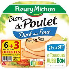 Fleury Michon Blanc de poulet réduit en sel en tranches x6+3offertes 270g