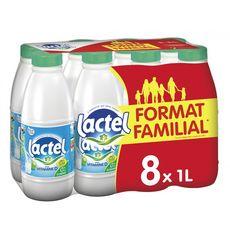 LACTEL Lait écrémé enrichi en vitamine D stérilisé UHT 8x1l