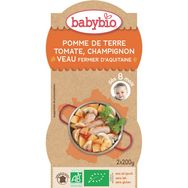 Babybio Babybio Assiette pomme de terre tomate champignon veau dès 8mois 2x200g