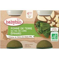 Babybio Petit pot pomme de terre épinard  dès 4 mois 2x130g
