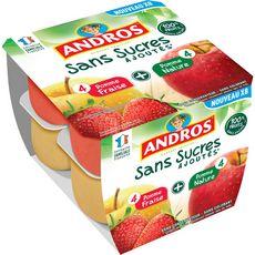 ANDROS Compotes pomme nature pomme fraise sans sucres ajoutés 8x100g