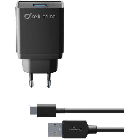 CELLULARLINE Chargeur secteur et câble USB- USB Type-C - Noir