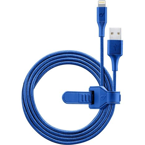 CELLULARLINE Câble de charge USB vers Lightning - Mâle/mâle - 1.2 m - Textile bleu