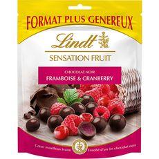 LINDT Sensation fruit, billes au chocolat noir framboise et cranberry 160g