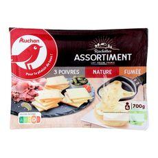 Auchan fromage à raclette trio poivre nature fumé 700g