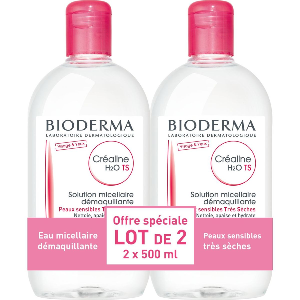 Bioderma Créaline ts h2o solution micellaire peaux très sèches 2x500ml