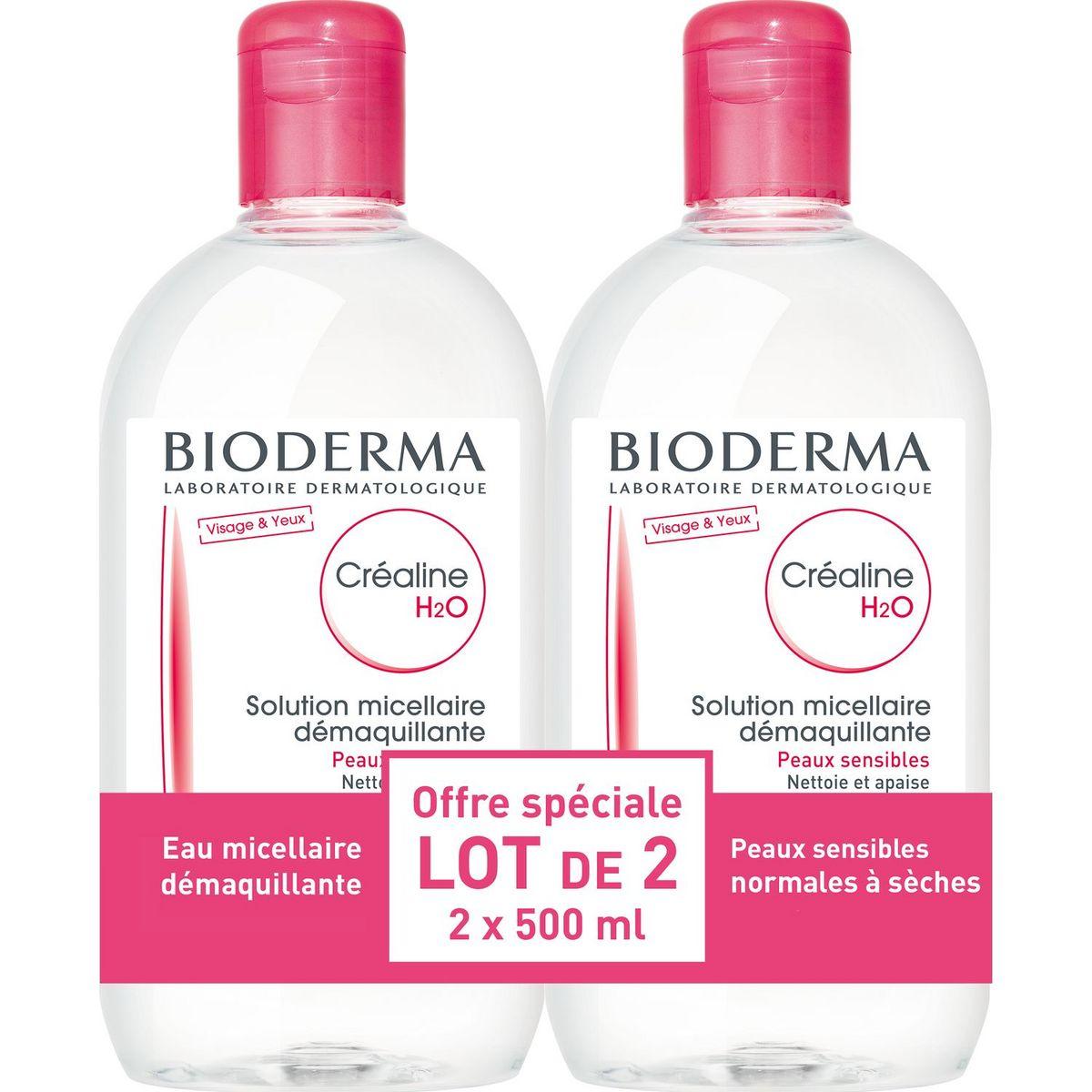 Bioderma Créaline h2o solution micellaire peaux très sèches 2x500ml