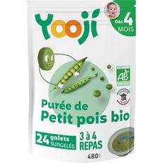 Yooji Galets de purée de petits pois bio dès 4 mois 24x20g