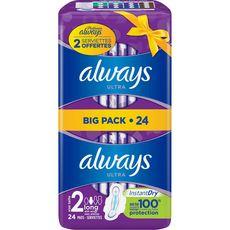 ALWAYS Ultra serviettes hygiéniques avec ailettes long taille 2 24 serviettes