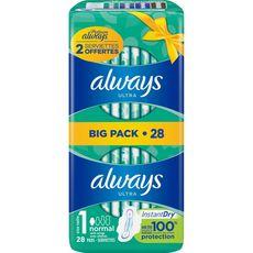 ALWAYS Ultra serviettes hygiéniques avec ailettes normal taille 1 28 serviettes