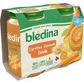 Blédina Blédina Petit pot carottes semoule et dinde dès 6 mois 2x200g