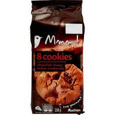 AUCHAN MMM! Cookies chocolat blanc saveur canberries 8 biscuits 200g