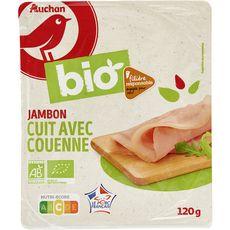 AUCHAN BIO Jambon blanc avec couenne filière responsable 4 tranches 120g