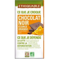 Ethiquable Tablette de chocolat noir bio écorce d'orange Pérou Haïti 100g