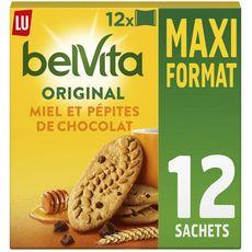 BELVITA Biscuits petit-déjeuner miel et pépites de chocolat, sachets fraîcheur 12x4 biscuits 650g