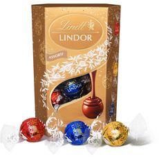 Lindt Cornet Lindor boules assorties aux 3 chocolats cœur fondant 200g