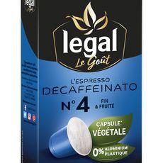 Legal Café espresso decafeiné en capsule végétale compatible Nespresso 50g