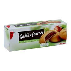 AUCHAN Biscuits sablés fourrés saveur noisettes 9 biscuits 125g