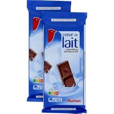 Auchan chocolat familial touche de lait 2x100g