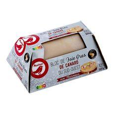 AUCHAN Bloc de Foie gras de canard avec morceaux du sud-ouest 7 parts 300g