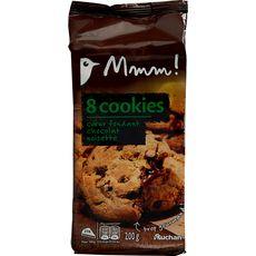 AUCHAN MMM! Cookies cœur fondant chocolat noisette 8 biscuits 200g