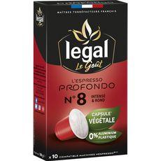 Legal Café espresso profondo en capsule végétale compatible Nespresso 50g