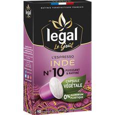 Legal Café espresso Inde en capsule végétale compatible Nespresso 50g