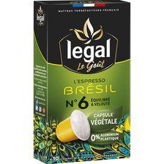 Legal Café espresso Brésil en capsule végétale compatible Nespresso 50g