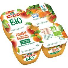 ANDROS Dessert fruitier pomme abricot bio 4x90g