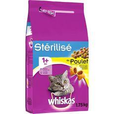 WHISKAS Croquettes au poulet pour chat stérilisé 1,75kg