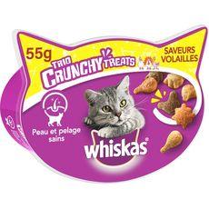 WHISKAS Barquette friandises trio crunchy volailles pour chat 55g