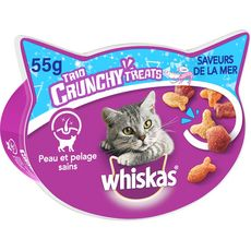 Whiskas Barquette friandises trio crunchy poissons pour chat 55g