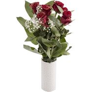 5 roses rouge 50cm +gypsophile