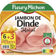 Fleury Michon jambon de dinde halal tranhe x6 +3gtes 270g