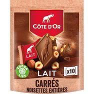 Côte d'Or Côte d'Or Carrés de chocolat au lait aux noisettes entières x10 200g