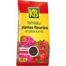 KB terreau plantes fleuries et géraniums 35l
