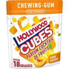 HOLLYWOOD Chewing-gums cubes sans sucres cocktail de fruits 18 dragées 41g