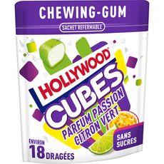 Hollywood Chewing-gums cubes sans sucres passion citron vert 18 dragées 41g