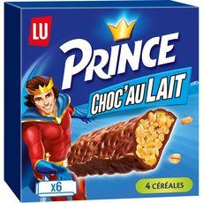 PRINCE Barres céréalières enrobées de chocolat au lait  6 barres 125g