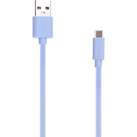 QILIVE Câble de charge USB vers USB-C - Mâle/mâle - 1 mètre - Nylon - Bleu