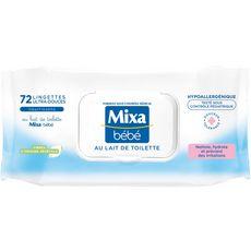 MIXA BEBE Lingettes bébé ultra-douces au lait nettoyant et apaisant 72 lingettes