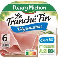 Fleury Michon Jambon dégustation sans couenne 6 tranches fines 180g