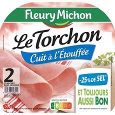 FLEURY MICHON Le Torchon Jambon blanc cuit à l'étouffée -25% de sel 2 tranches 80g