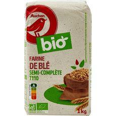 AUCHAN BIO Auchan Bio Farine de blé semi-complète T110 1kg 1kg