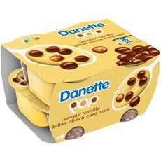DANETTE Danette POP Crème dessert vanille billes chocolat caramel  4x117g 4x117g
