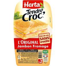 Herta Tendre croc' l'original sans croûte au jambon et au fromage 210g