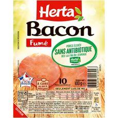 HERTA Bacon fumé sans antibiotiques 10 tranches 100g
