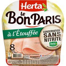 Herta Le bon Paris Jambon cuit étouffé sans nitrite sans couenne x8 -280g