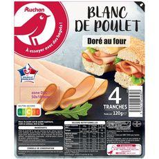 AUCHAN Blanc de poulet cuit au four 4 tranches 120g