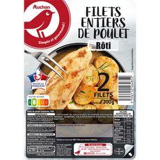 AUCHAN Filets entiers de poulet rôti 2 pièces 200g